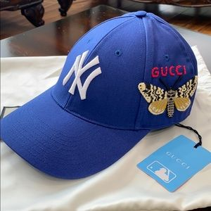 Gucci NY Ball Cap Hat Blue Butterfly